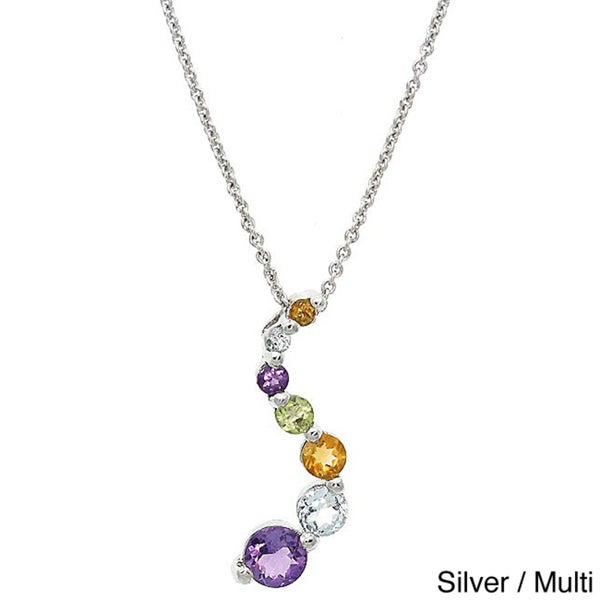 Glitzy Rocks 3/4ct TGW Gemstone Journey Necklace