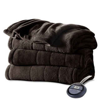 Sunbeam Heated Electric Blanket Channeled Microplush Full Size Walnut Brown
