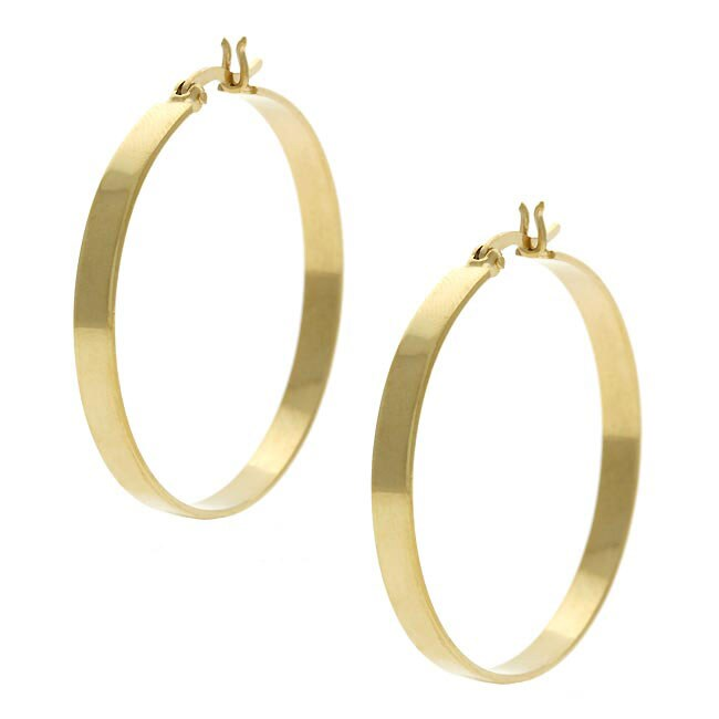 Mondevio 18k Gold over Sterling Silver Large Hoop Earrings