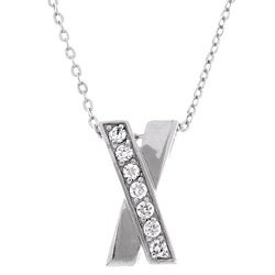 Sterling Essentials Sterling Silver Necklace with Classic X CZ Pendant