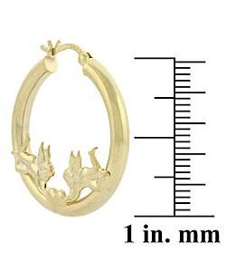 Mondevio 18k Gold over Sterling Silver Angel Heart Earrings