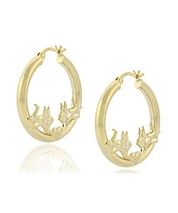 Mondevio 18k Gold over Sterling Silver Angel Heart Earrings
