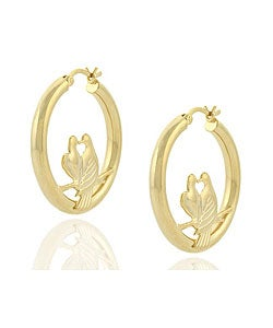 Mondevio 18k Gold over Sterling Silver Love Birds Earrings