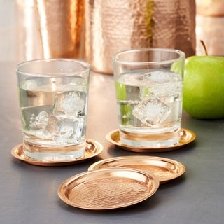 Stone Hammered Solid Copper Round Coasters, Set of 4