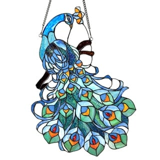 Chloe Tiffany Style Peacock Design Stained Glass Window Panel Suncatcher