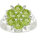Silver 5mm Round Peridot Ring