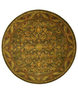 Handmade Antiquities Kerman Charcoal Green Wool Rug (3'6 Round)