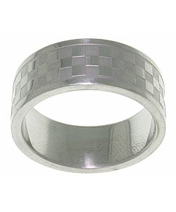 CGC Stainless Steel Checker Pattern Ring