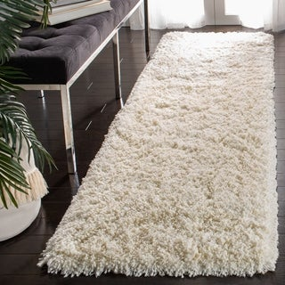 Safavieh Plush Super Dense Hand-woven Honey White Premium Shag Rug (4' Round)