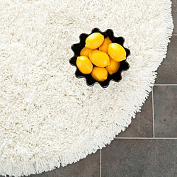Plush Super Dense Hand-woven Honey White Premium Shag Rug (4' Round)