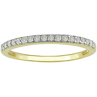 Miadora 14k Yellow Gold 1/4ct TDW Diamond Wedding Band (I-J,I2) with Bonus Earrings