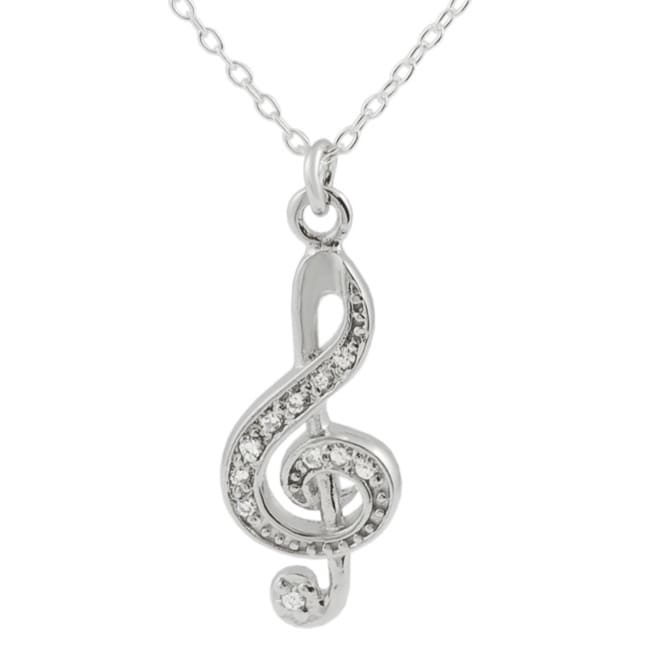 Journee Sterling Silver CZ Treble Clef Necklace