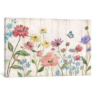 iCanvas ''Wildflower Flutter On Wood'' by Nan