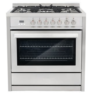 36 in. 3.8 cu. ft. Single Oven Dual Fuel Range with 8 Function Convection Oven in Stainless Steel
