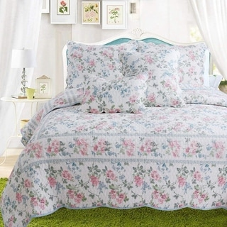 Cozy Line Narcissus Floral 3 Piece Reversible Cotton Quilt Set - Blue/Pink/White