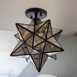 Star Shaped One Light Semi Flush Pendant