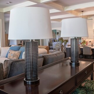 Set of 2 Tall Ribbed Glass Table Lamps