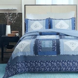 Cozy Line Freesia Patchwork 3-piece Reversible Cotton Quilt Set