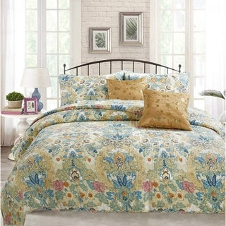 Cozy Line Florabella Floral 3 Piece Reversible Cotton Quilt Set