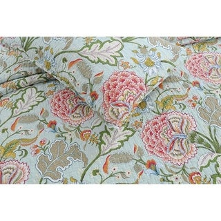 Cozy Line Aregada Floral 3 Piece Reversible Cotton Quilt Set