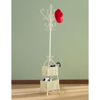 Ivory Iron Hall Tree w/ Rattan Baskets