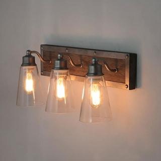 "LNC 3-Light Wood Wall Sconces Rustic Bathroom Vanity Wall Lights - W21.25""x H9""x E6.7"""