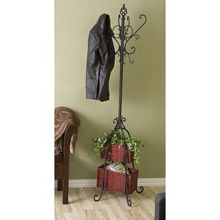 Black Iron Hall Tree with Rattan Baskets