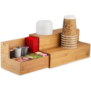 Bamboo Coffee Tea Organizer with Side Drawer for K-Cup Pods & Tea Bags,