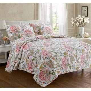 Cozy Line Breezy Floral 3 Piece Reversible Cotton Quilt Set