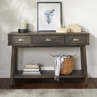 Abbyson Kaya Grey 3 Drawer Rectangle Console Table