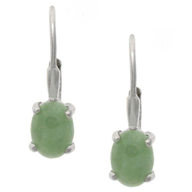Glitzy Rocks Sterling Silver Oval Jade Leverback Earrings