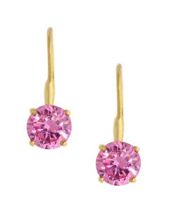 Icz Stonez 18k Gold over Sterling Silver Pink CZ Earrings