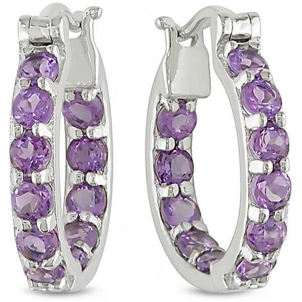 M by Miadora Sterling Silver Amethyst Hoop Earrings