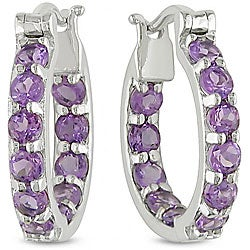 Miadora Sterling Silver Amethyst Hoop Earrings