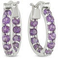 M by Miadora Sterling Silver Amethyst Hoop Earrings