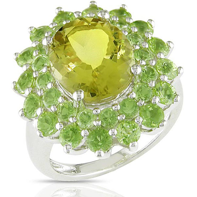Miadora Sterling Silver Lemon Quartz Peridot Ring