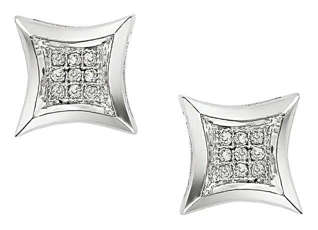 Miadora 10k White Gold Diamond Earrings