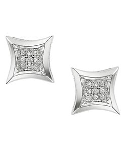 Miadora 10k White Gold Diamond Earrings
