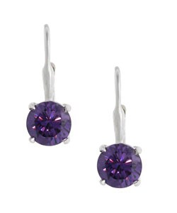 Icz Stonez Sterling Silver Purple CZ Leverback Earrings