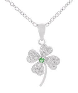 Tressa Sterling Silver Clover CZ Necklace