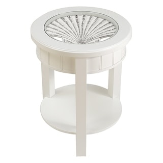 Seahaven White Wood Clamshell Insert Coastal Accent Table
