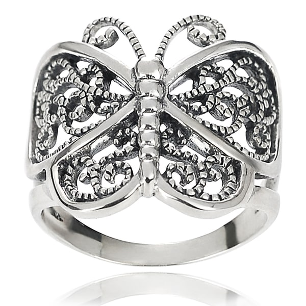 Journee Collection Sterling Silver Butterfly Wrap Ring