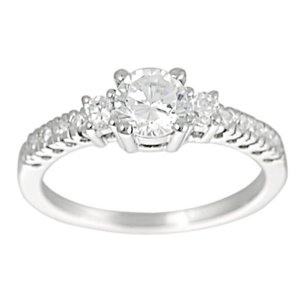 Journee Collection Sterling Silver CZ Bridal & Engagement Ring