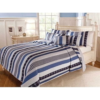 Cameron Contemporary Blue and White Cotton Striped 3-piece Quilt Set