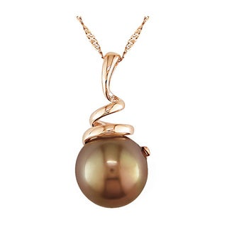 Miadora 14k Pink Gold Brown Cultured Freshwater Pearl Pendant