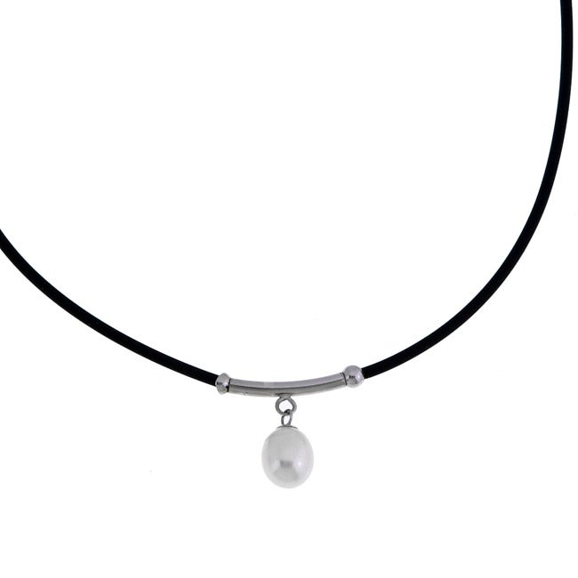 Kabella Freshwater Pearl on Silver and Rubber Cord