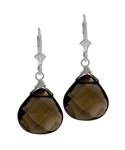 Charming Life Sterling Silver Smokey Quartz Briolette Earrings