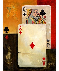 Poker Queen Extra Large Canvas Wall Art