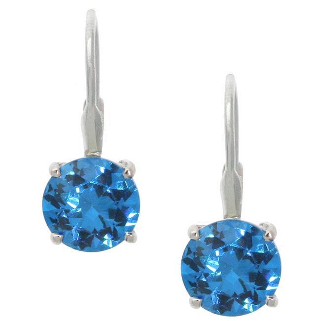 Icz Stonez Sterling Silver Blue CZ Leverback Earrings