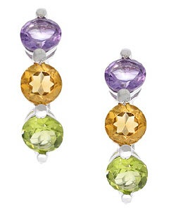Glitzy Rocks Sterling Silver Multi-gemstone Hoop Earrings